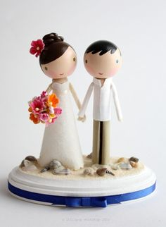 Custom wedding cake topper for beach theme