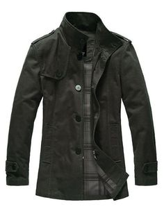 Single Breasted Green Business Casual Men Wind Coat