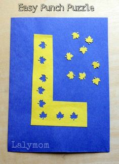 Easy DIY Fall Leaf Puzzle for Kids. Children will enjoy making this DIY punch puzzle for the letter L. A perfect activity for young children working on their fine motor skills! A fun way to introduce the letter L! Fine Motor Activities For Kids, Kindergarten Activities, Fun Activities, Alphabet Activities, Toddler Activities, Kids Learning, Fall Crafts, Crafts For Kids, Autumn Leaves Craft