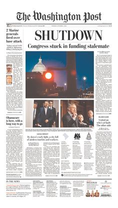 October 1, 2013: The U.S. federal government shuts down. The Washington Post, Washington, D.C.