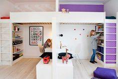 mommo design loft / bunk beds - looks similar to my two girls bedroom! Loft Bunk Beds, Kids Bunk Beds, Stuva Loft Bed, Kura Bed, Boy Girl Room, Boy And Girl Shared Room, Shared Bedrooms, Small Bedrooms, Small Shared Bedroom