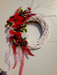Red and white door wreath