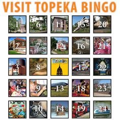 Visit Topeka Bingo is a fun way for you, your family and your friends to explore Topeka's attractions, fun activities and unique events. Check out five locations, or visit them all; it's up to you! Visit Topeka Bingo runs May 3 - July 31. Turn your bingo card in by 5 p.m. on July 31 for the chance to win!  www.VisitTopeka.com  Visit Topeka Inc.