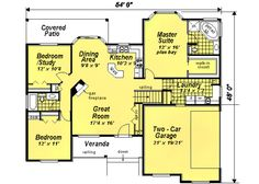Ranch Style House Plan - 3 Beds 2 Baths 1511 Sq/Ft Plan #18-1057 Main Floor Plan - Houseplans.com