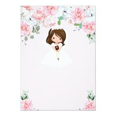 Girl Floral First Communion Invitation First Communion Decorations, First Communion Party, First Holy Communion, Elegant Invitations, Custom Invitations, Party Invitations, Holy Communion Invitations, Pink Flowers, Holiday Cards