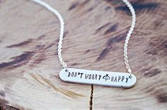 Don't Worry Bee Happy Stamped Bar Necklace  by HeartWishHandmade