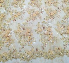 1 yard heavy beaded lace fabric with 3D florals bridal lace