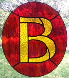 Letter B Initial CUSTOM Stained Glass Suncatcher Pick Your Own Colors via Etsy