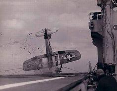 An aircraft crash on board during World War II
