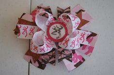Browning Pink Camo Hair Bow by SassyBowsbyMelissa