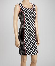 Look at this #zulilyfind! Voir Voir Red & Black Polka Dot Sleeveless Dress by Voir Voir #zulilyfinds
