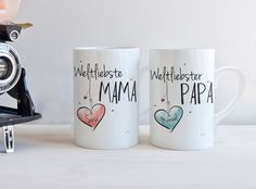 Tassen für Eltern, Geschenkidee, Muttertag, Vatertag / set of tea cups for parents made by Hugs'n'Cups via DaWanda.com