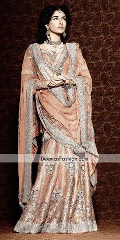 Pakistani Wedding Dresses | you are in bridal wear category tags bridal dark peach gharara walima ...