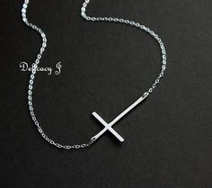 Kelly Ripa sideways cross necklace in STERLING SILVER by DelicacyJ