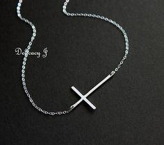 Kelly Ripa sideways cross necklace in STERLING SILVER by DelicacyJ