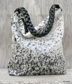 Black and White Speckled Cowhide Leather Hobo Bag