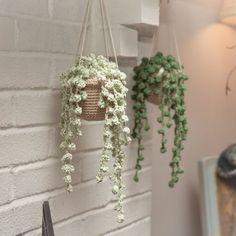 My crocheted string of pearls! Crochet Diy, Cactus En Crochet, Mode Crochet, Crochet Home, Learn To Crochet, Crochet Flower Patterns, Crochet Flowers, Knitting Patterns, Yarn Projects