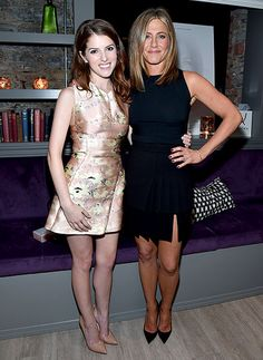 "Anna Kendrick and Jennifer Aniston posed together at the Toronto Film Festival cocktail reception for their film ""Cake"" on Sept.8,2014"