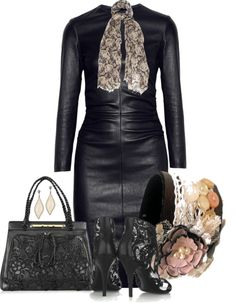 """Leather and Lace"" by natasha-gayden on Polyvore"