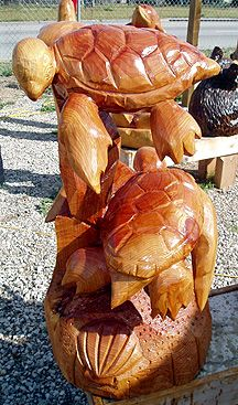 CHAINSAW Carved Turtles