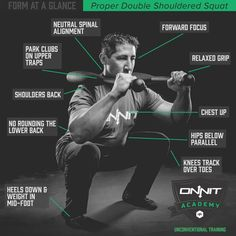 How to perform the Double Steel Club Shouldered Squat