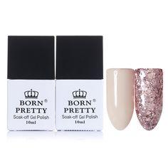 Родился довольно открытые ногтей гель розовый блестками гель лак 10 мл Soak Off Long Lasting Nail Art УФ Гель лак купить на AliExpress