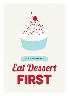 Eat Dessert First, kitchen art print, red & blue: 8x10. $18.00, via Etsy.