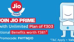 Get patym exclusive  offers* on Jio mobile Recharge of ₹100 @ paytm.com