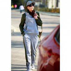$14.46 Fashionable Hooded Color Block Splice Design Long Sleeve Hoodie   Sports Style Pants Twinset For Women