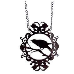 Ornate Crow Cameo Necklace by Cherryloco ($17) ❤ liked on Polyvore featuring jewelry, necklaces, acrylic necklace, curb link necklace, pendant jewelry, curb chain necklace and cameo jewelry