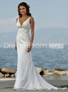 [£108.32] Sexy V Neck Sheath & Column Sweep Train Beaded Beach Wedding Dresses
