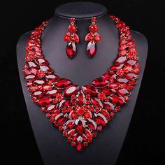 Luxury Red Crystal Jewellery Statement Necklace Earring Gold Plated Wedding Party Prom Bridal Jewelry set For Bride Accessories