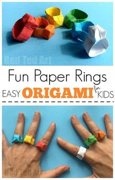 Easy Origami Ring DIY - Red more fun with paper. Look how CUTE these little paper rings are! A great Origami Pattern for Beginners. # origami easy Easy Origami Ring DIY - Red Ted Art - Make crafting with kids easy & fun Origami Design, Diy Origami, Origami Rose, Origami Simple, Easy Origami For Kids, Origami Ball, Paper Crafts Origami, Paper Crafts For Kids, Origami Tutorial