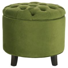 Amelia Tufted Storage Ottoman Fern - Safavieh, Green