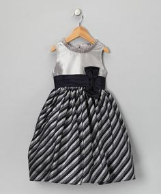 Take a look at this Gray & Navy Stripe Clara Dress - Girls by Holiday Shine: Kids' Apparel & Shoes on #zulily today!