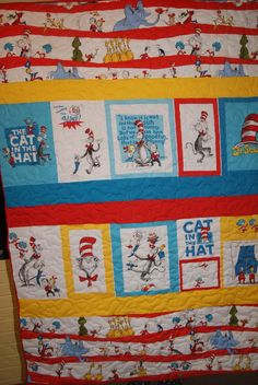 Cute Cat in the Hat Quilt made by my mom!  Love it!