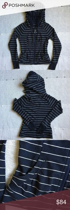 "Lululemon Stripe Movement Hoodie Jacket Size 4 Super soft zip-up hoodie from Lululemon. Inkwell stripe. Two front pockets and thumbholes. Rip tag has been removed but size is dot confirmed. Material is French terry. Measures 19"" from armpit to armpit, 28"" from cuff to shoulder and 23"" from shoulder to bottom hem. Like new condition. lululemon athletica Tops Sweatshirts & Hoodies"