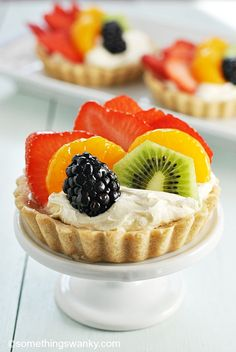 Rainbow Fruit Tartlets...quite possibly one of the most beautiful, delicious, and EASIEST fancy desserts on the planet to make. Save time and use Pillsbury Sugar Cookie Dough.