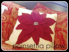 Spartan Living: Poinsettia Pillow Tutorial (like Pottery Barn) Christmas Poinsettia, Christmas Pillow, Christmas Love, All Things Christmas, Handmade Christmas, Christmas Ideas, Holiday Ideas, Christmas Quilting, Woodland Christmas