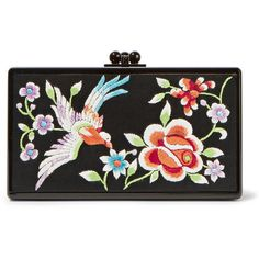 Edie Parker Jean embroidered satin and acrylic box clutch (133.750 RUB) ❤ liked on Polyvore featuring bags, handbags, clutches, black, black floral purse, hard clutch, black purse, colorful purses and black handbags
