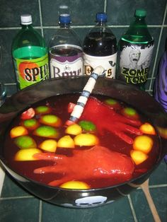 Witches brew recipe #halloween #party This is idea is just a reminder to use gloves to freeze ice! ---If using gloves, cut the gloves off before you put the ice hands in the punch or it'll taste like rubber!---