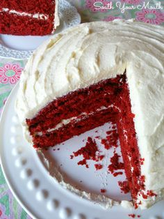 Mama's Red Velvet Cake with Cooked Buttercream Frosting! This is an old fashioned, heirloom Southern recipe for classic red velvet cake and the original cooked flour buttercream frosting.