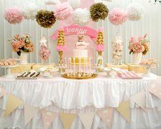 Fiestita en tonalidades rosa y dorado