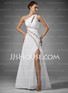 Prom Dresses - $152.99 - Sheath One-Shoulder Sweep Train Chiffon Prom Dresses With Ruffle Beading (018005081) http://jjshouse.com/Sheath-One-shoulder-Sweep-Train-Chiffon-Prom-Dresses-With-Ruffle-Beading-018005081-g5081