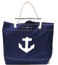 Nautical Anchor Tote Bag - Rope handles - Beach and Nautical totes constructed from Marine  -  Outdoor grade fabrics and   finishings!  http://www.purseladytoo.com/skipper-bags/
