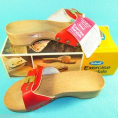 7b22d072d157 New Red Dr Scholl Vintage Original Exercise Sandals Wood NOS NIB 1980 Size 6   89.45 Wooden