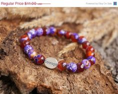 40% SALE Purple and Brown Agate Stone Stacking Bracelet by ByLEXY