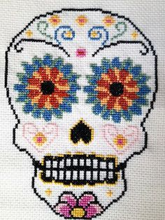 Modern skull cross stitch