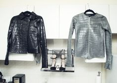 """Both jackets are alligator jackets made for me by my boyfriend Evan. He works with exotic skins and tanneries in Florida. We have matching ones and when we wear them together it feels very super villain."" http://www.thecoveteur.com/gigi-burris/"
