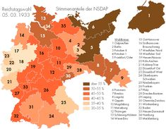 weimarer republik, weimar, map of germany, constituencies, reichstagswahl 1933, nsdap strength, 19330305, ostpreußen, pommern, frankfurt/oder
